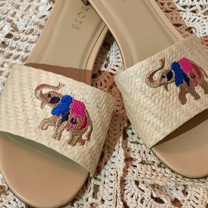 Talbots Embroidered Straw Sandals